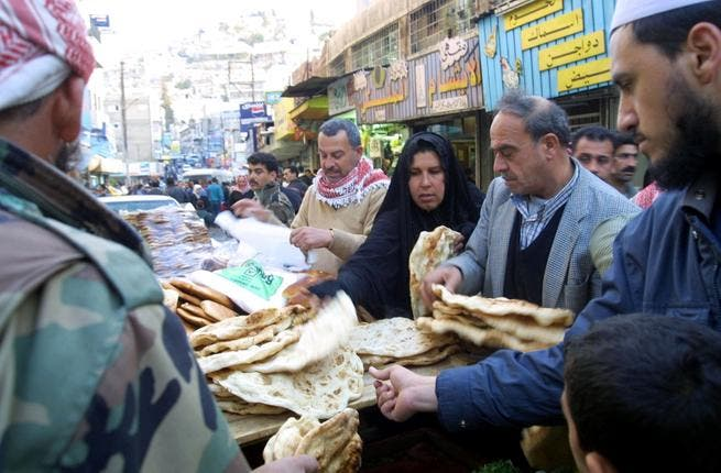 Shopping frenzy : Reports off the street of rationing of food supplies in Jordan this 