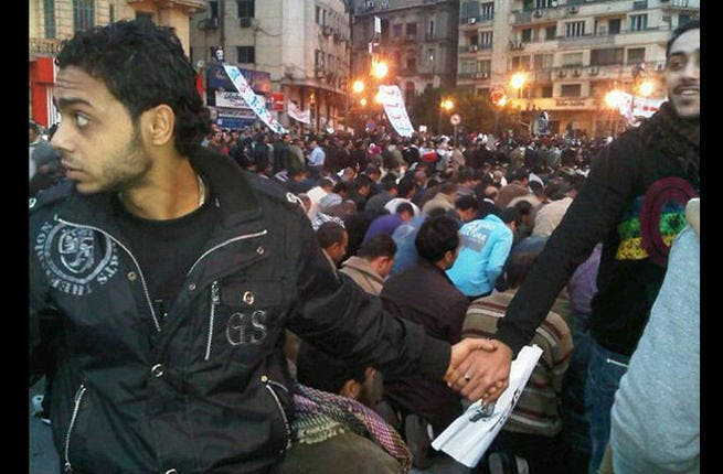 A ring of peace: Only a month after a bombing killed 23 Coptic Christians, Christians in Egypt's Tahrir Square joined hands to form a protective ring around fellow Muslim protestors allowing them to pray. If only more such rings could be formed in every neighborhood, every city and every country. Keep the faith!