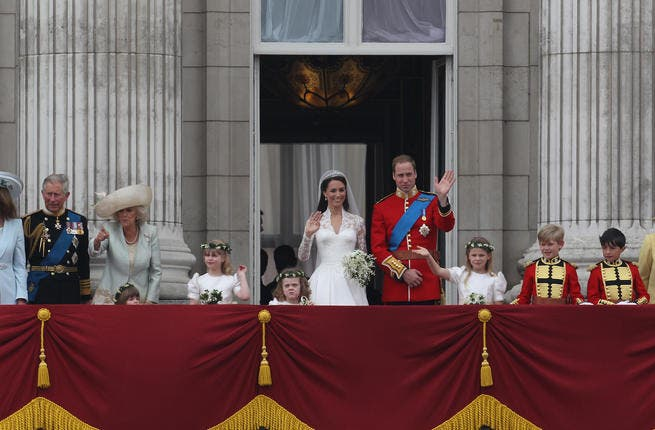 Happy Families: Prince Charles welcomed his new daughter-in-law into the fold at the reception later, in a speech, as the daughter he never had. Here the family line-up, including wife Duchess of Cornwall, herself a recent member of the Windsor household. The family, he said, are lucky to have Kate.