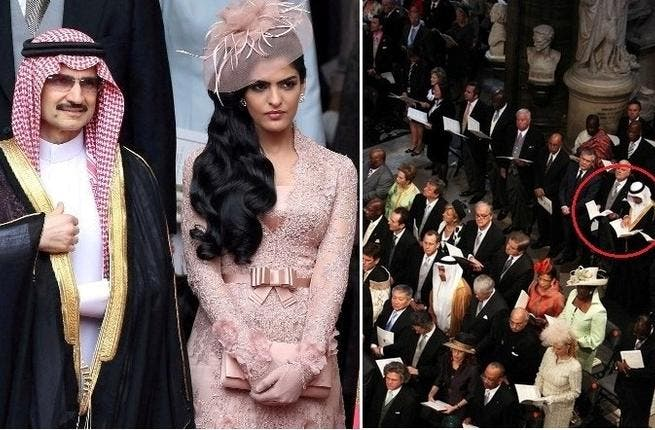 2 people married, millions party, but only the select few invited: From the Arab world this included the Moroccan Royals, Abu Dhabi and Omani Royals, as well as Prince al-Waleed bin Talal of KSA, here shown below. An Arab guest spotted in the congregation poring over the hym book to the right.