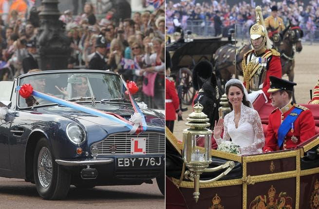 No ordinary 'Just Married's': Though they would like us to think otherwise, as William drives Kate from the palace to the reception afterward in an Aston Martin. Dad's Aston Martin. Still, a far-cry from the horse-drawn carriage we earlier watched deliver the happy couple to the Palace.