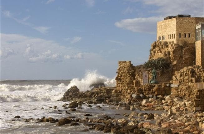 A picture shows a section of the Roman-era port of Caesarea after a massive storm battering the eastern Mediterranean destroyed the breakers protecting the ancient port city threatening to wash away the historic site, Israeli officials said.