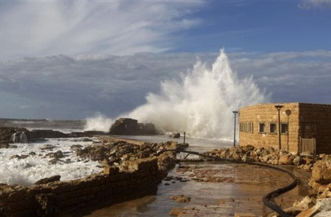 Waves smash into breakers protecting the Roman-era port of Caesarea after a massive storm battering the eastern Mediterranean destroyed the breakers threatening to wash away the historic site, Israeli officials said.