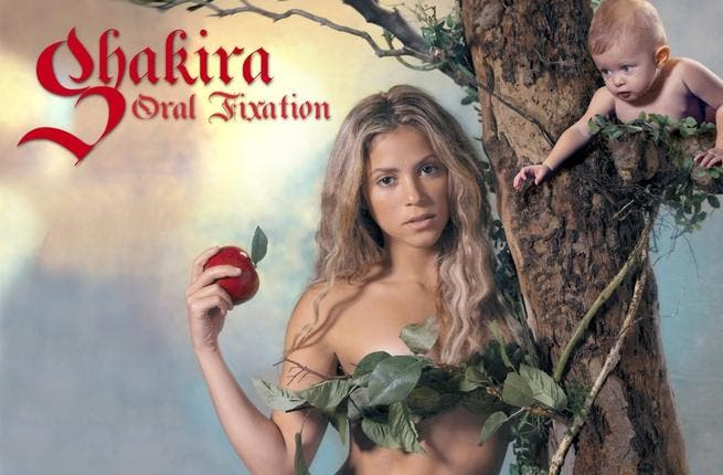 While proving her success by her albums going platinum at home in Columbia and wider Latin America, as well as in the US, Shakira has not been without her share of controversy-  the below album cover of Eve with the forbidden fruit, was banned particularly in Catholic countries.