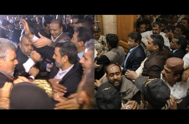 Flying shoes, duck for cover! Former Pakistani leader Pervez Musharraf and Iran's former president Mahmoud Ahmadinejad bore the brunt of several soles during their time in office. An angry lawyer targeted Musharraf in 2013 on his return after 4 years in exile and Iran's ex-leader received his own 2009 kick in the teeth during a homeland speech.