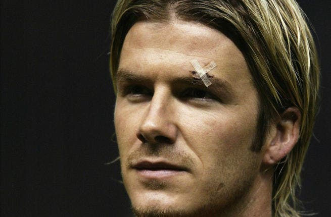 "Beckham's boot boo-boo: English footie star David Beckham's gash on his brow after a 2003 shoe scuffle with his unhappy coach raised a shoe-storm! While Man U refused to comment on the alleged tiff off the turf, saying ""whatever happens in the dressing room remains.."