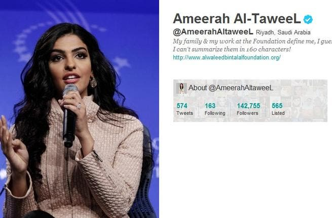 @AmeerahAltaweeL: Prince Waleed Bin Talal of KSA's Wife, Ameerah El-Taweel: She is the head of her husband's Foundation which she promotes in English & Arabic and 'tweeted' in her husband's defense as an employer of Saudis. She posted a pic. of Sheikha Mozah commending her elegance & leadership. She quirkily posted a photo of her new born horse.