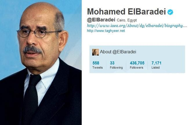 @ElBaradei: This Nobel Prize holder was key to Mubarak's ouster. He quit the run for Egyptian President --and did not tweet quitting his campaign.  He did tweet a Merry Xmas  7 Jan to Egypt's Copts. He re-re-tweeted the mantra 'the Revolution shall win!' in Dec. 2011 as Tahrir plunged into the dark. He tweets out fears for Egypt's economy.