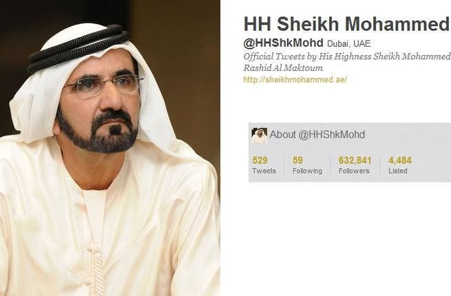 @HHShkMohd HH Sheikh Mohammed, PM & VP of the UAE, Ruler of Dubai, gives his 600,000 + followers 'green' tweets, promoting UAE developments & progress. He celebrates local education milestones. He includes photos of himself marking national events as the first Metro opening. A tweet announcement & photo recently welcomed his royal baby 'Zayed'.
