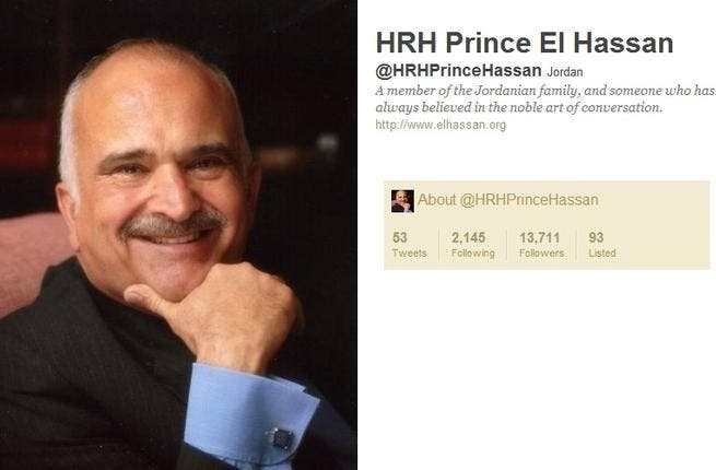 @HRHPrinceHassan: Jordan's Prince El-Hasan bin Talalhas produced53 tweets as a newcomer  to the Twitter game. Bucking the high profile  trend to follow few, HRH, follows a healthy 2143 to stay in tune with his community. He has had good reviews from local active users who find him interesting and down to earth in his Twitter output.