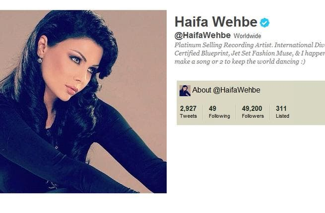 @HaifaWehbe: This diva pop-act is also taking the online Twitterworld by storm, boosting her fanbase in a numbers game not so different to record sales. An active 'Tweep' with nearly 3,000 tweets in just months, she is even more regular at changing her 'avatar' (profile pic). She engages with followers, even name-called one teenager a 'monkey'.