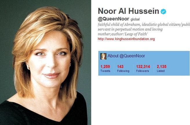 @QueenNoor: The widow of King Hussein; queen 'dowager' of Jordan. She uses Twitter as her mouthpiece for her international activism; & her channel for promoting her King Hussein Foundation. She recently tweeted touching tributes to her son Hamzeh's marriage to her new daughter in-law, 'beautiful inside & out'. She interacts with her followers.