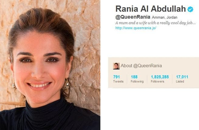 @QueenRania: Rania Al Abdullah is the savvy Queen to Jordan's King. His First Lady trail-blazed Royal tweeting early in 2009. She tweets between Arabic & English to promote peace through education & entrepreneurship, while celebrating Jordan. In Twitter years, she is an old-hand at working the Social Media playground for her charity agenda.