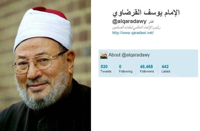 @alqaradawy: This celebrity Egyptian Islamic scholar of the show 'Sharia'a & Life'  and behind IslamOnline, promotes his shows,  tweeting support for Yemen & Syria who remain embroiled in revolutionary challenges. He tweets out his anti-Shia Iraq views. He urges Egyptians to vote. He tweet-supports  an external intervention for Syria.