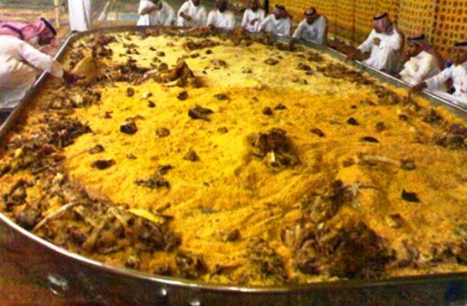 'Kabsa' : A traditional Arabian rice and meat dish. Picture taken from a period when a cooking storm of competitions swept the region for 'biggest humus/ tabbouleh' stand-offs