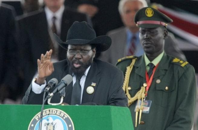 The President of Southern Sudan Salva Kiir addresses a large crowd gathered for the ceremony in the capital Juba.