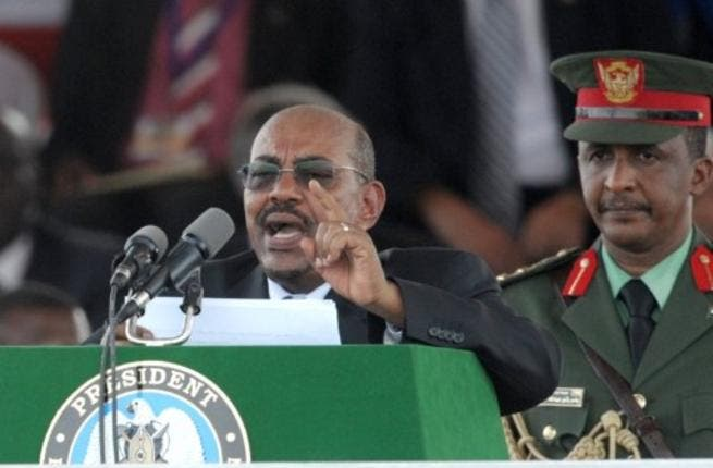 The President of Sudan, Omar al Bashir, addresses a crowd of thousands during the ceremony in the capital Juba, to celebrate South Sudan's independence from Sudan.