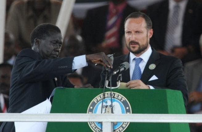 Haakon, The Crown Prince of Norway, gets ready to speaks during the ceremony in the capital Juba.
