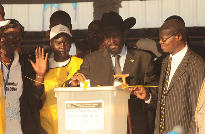 Salva Kiir Mayardit, acting President of the Government of Southern Sudan, casts his vote during the first day of voting for the independence referendum in the southern Sudanese city of Juba, Sudan.