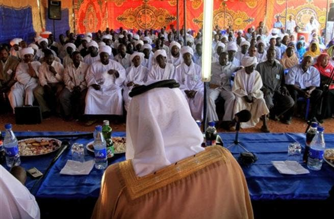 Qatari Minister of State for Foreign Affairs Ahmed bin Abdullah al-Mahmud, whose country has been hosting for months peace talks between the Khartoum government and Darfur rebel groups, gives a speech in Geneina.