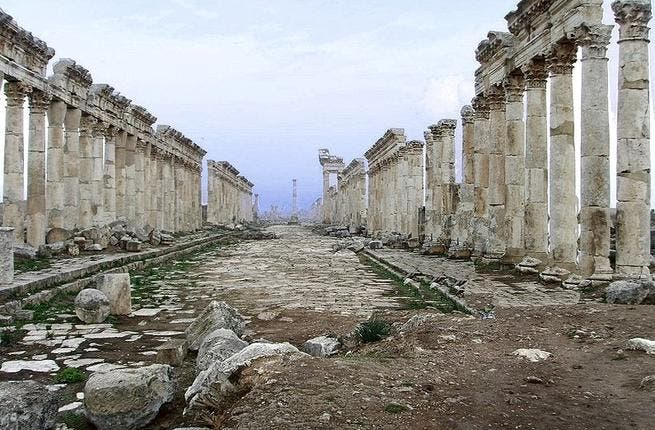 Apamea: the beautifully preserved Roman streets were more used to tourist footsteps than tanks on their front lawn but that was the least of their worries when thieves broke in and drilled two meters into the ruins to strip out priceless mosaics.
