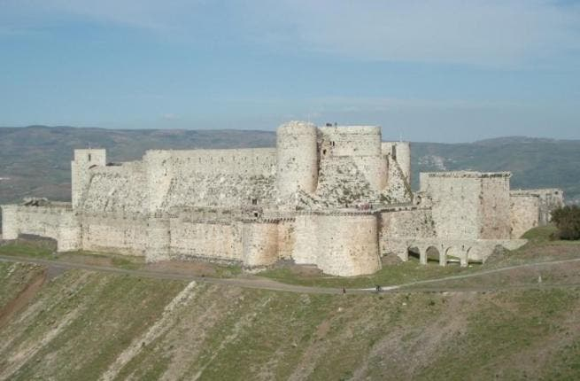 Krak des Chevaliers: a crusader castle of fairytale-like beauty, 'Krak' was first attacked with artillery fire and then by looting as fighting spread to the Lebanese border. The unique 12th-century graffiti is also reported as damaged.