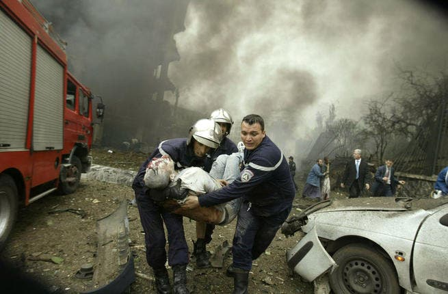 2007 Algiers bombing: Two bombs exploded within a short time of each other, one at the Prime Minister's office and the other at a police station. The blasts killed 33 people.