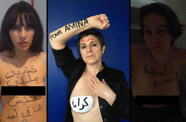 Trending Tunisian toplessness:  Amina copy cats sprung up faster than you could say Topless Jihad. Plastered on their breasts, the battle cry: