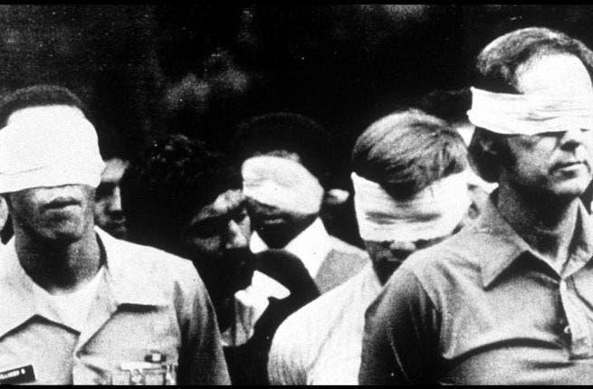 1979: Storming of the American Embassy. Iranian students take U.S. Embassy officials hostage. They demand that the Shah be sent back to Iran for trial. Khomeini says the kidnappers have his support. Like your average serial killer, the Ayatollah goes from being a relative unknown to highly unpopular in America.