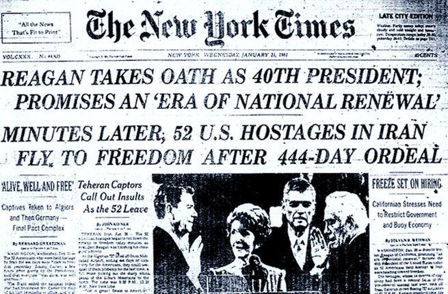 1981: American hostages released. After 444 days in captivity, the hostages are freed. The U.S. agrees to unfreeze Iranian assets and not to interfere in Iran's political and military affairs.  Like in any relationship, some of the promises made will be broken.