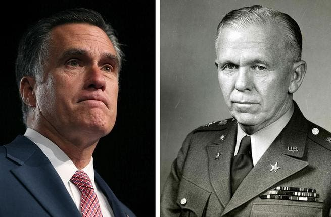 Romney's flawed Marshall plan: Mitt got his Mideast a little mixed up, lavishing unbridled praise on former anti-Israel Secretary of State George Marshall. Given Romney's stance on the Jewish state, the two would likely not be best friends if Marshall were alive today.
