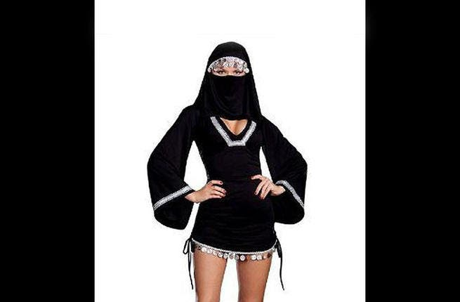 Sexy Abaya- All the women looking for a quick, make-a-statement kind of costume with the Abaya (over-dress cape ) and mini skirt combo -- don't. Righteous on top and Risque on the bottom will not go over well when you ring the doorbell at the local Imam's house. It'll be all tricks and no treating for this 'harama-mama'.