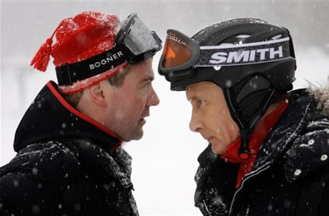 Russian President Dmitry Medvedev (L) and Prime Minister Vladimir Putin talking while skiing in Krasnaya Polyana near the Black Sea resort of Sochi. US diplomats refer to Russian President Dmitry Medvedev as a hesitant leader and Prime Minister Vladimir Putin as an
