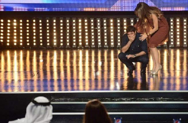 Cheeky Wael Kfoury was back to his old tricks when, having seen the wannabes singing their hearts out on stage, he decided he wanted a slice of the action. During one of the breaks, the Lebanese hottie stole the show by pretending to be a contestant.