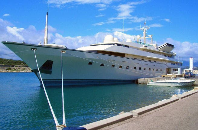 Kingdom 5KR - this glamorous sea vessel has changed filthy rich hands from former richest, KSA Arms dealer Khashoggi, through to celeb paws of Donald Trump, who in turn pawned her over to HRH Prince Al Waleed bin Talal. 50 million Euros.