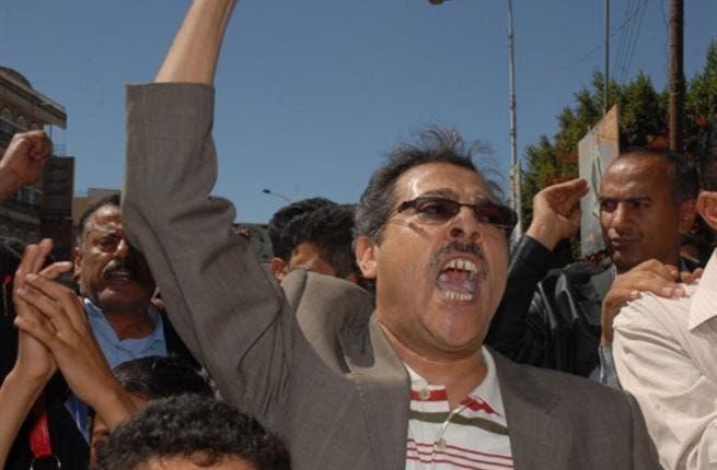 Yemeni opposition journalist Abdel Karim al-Khaiwani joins a protest calling for the ouster of Yemen's President Ali Abdullah Saleh in the capital Sanaa.
