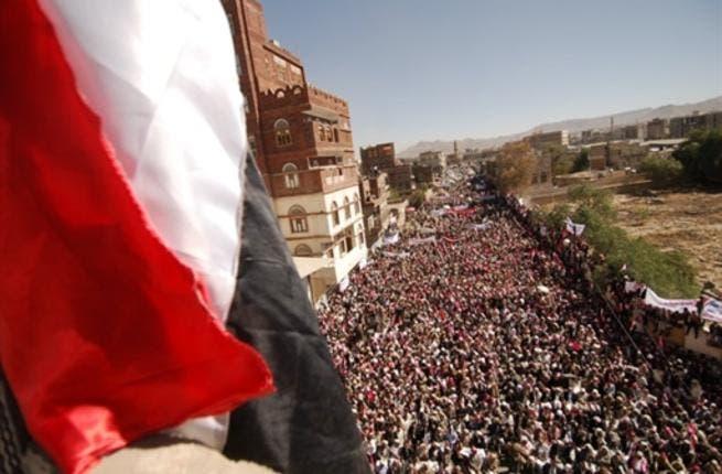 Yemenis gather to call for the ouster of Yemen's President Ali Abdullah Saleh.