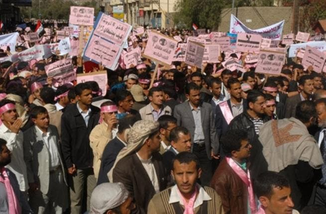 Yemenis attend a protest calling President Ali Abdullah Saleh to quit after being in power since 1978.