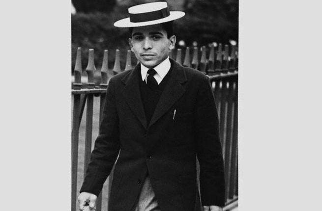 Late King Hussein of Jordan- The younger version appears as elegant as ever. A stylish choice in boater hat!