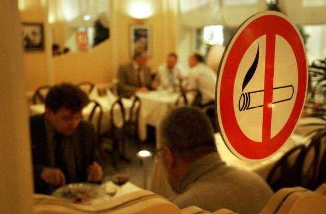 No smoking - for Arabs too? A Levant eyewitness abroad reports an amusing tale of a Palestinian man trying to flout a smoking ban in Europe. After a hotel official asked him pleasantly to refrain from smoking on the premises, he transferred the offending cigarette from his mouth to behind his back (tell-tale sidestream smoke a deadly give away).