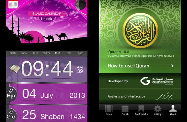 iProductivity: Struggling to keep up with your duties? Muslim Watch reminds you of prayer times (it doesn't pray for you.) iQuran has verses for you on the go. Hijri lets you sort dates by the Islamic calendar. Mumtaz translates from Arabic and back. Bel Arabi converts your phone's bad handwriting into beautiful Arabic calligraphy.