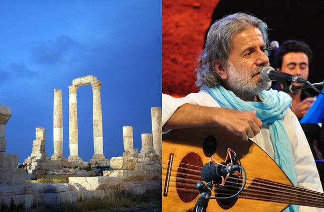 """Marcel Khalife's poetic passions: """"Magical nights at the Amman citadel"""" gave us the Lebanese lute legend and an audience rich in his cult-following. The Arab musical icon charmed Amman fans with classic tunes on tap and did not disappoint the Palestinian heritage in Jordan's temple venue with his staple Mahmoud Darwish homage anthems."""
