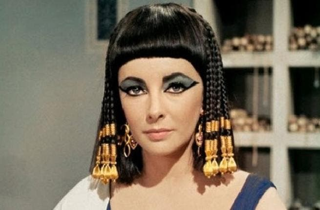 Cleopatra: While filming Cleopatra in Rome, the starlet began her very public affair with soon-husband Burton. A legendary relationship to match her famous Queen hair.