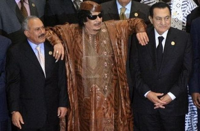 Needing his fellow Arab leaders to prop him up: Qaddafi using Ali Abdullah Saleh and Mubarak as crutches.  But now that they're falling, if not fallen, we doubt they can keep him standing.