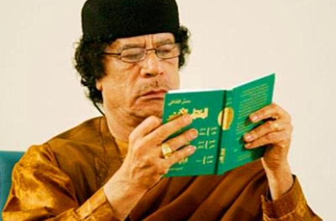 His people- who the hit parody Zenga-Zenga threatens ('I will come after you house, house, alley by alley')-  are 'rats and 'cockroaches', and drugs and foreigners are to blame for their rebellion.  He displays his Green Book - which rose to fame for its 'Qaddafiisms'-  unsound logic-  the founding principles for his ideology.