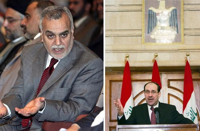 Tariq al Hashimi and Nouri al-Maliki. PM Maliki has spoken his Sunni Vice PM Hashimi for being responsible for some terrorist activity experienced recently. Not the most cohesive of national fronts.