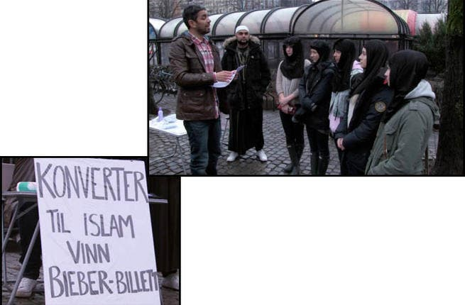 I'm a Belieber! Norwegian mega-fans showed just how far they'd go to see their idol in the flesh when they agreed to 'convert to Islam' for a shot at winning gig tickets. The TV stunt, which saw two teenage fans don the hijab and recite an Islamic statement of belief, faced a barrage of criticism.