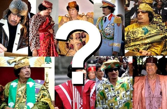 Gaddafi gear: What will this man of theatrical costume be wearing on his next appearance, dare we suggest, 