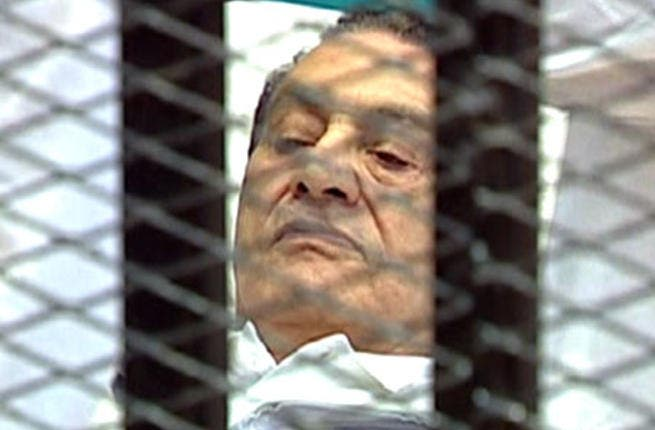 First outing to court, August 3rd, facing charges of conspiring to kill protesters: Mubarak presents a dramatic site for 