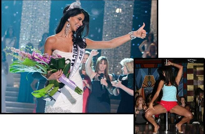 Reema Fakeh might have looked like a picture of sophistication when she was crowned Queen at the US' national beauty pageant in 2010. But a few days after the event, leaked pole-dancing pictures showed the Lebanese beauty looking less demure. The snaps caused quite a splash and Reema was left lucky not to be stripped of her crown.